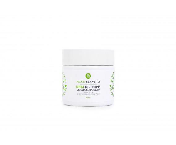 Крем омолаживающий для лица вечерний  Активизирует репаративные процессы в коже. Смягчает, увлажняет и питает кожу, разглаживает морщины, замедляет процесс старения, защищает ее от воздействия неблагоприятных факторов внешней среды, восстанавливает нормальное функционирование клеточных структур кожи. Кожа становиться шелковистой, светлой и нежной, вновь помолодевшей.  Незаменимое средство для использования у пациентов с сухой, истонченной, чувствительной кожей.  Является эффективным средством предупреждения старения кожи и ее обновления.  Способ применения: наносят на очищенную кожу.  Состав: Вода деминерализованная, масло Макадамии, Монтанов 202, Лувитол лайт,изопропилмиристат , Каприлик/каприл триглицерид, масло Карите,Бетаин, Сепинов ЕМТ-10, карбамид, Д-пантенол, сорбитол,лактат натрия, ИФО, экстракт Женьшеня сухой, витамин Е, Катон CG, отдушка,Биофлуревит соединительной ткани, Фитофлуревит лещины, липосомальный концентрат АСТЕМ-ЛИП, Астрагерм.  ЕАС 45мл